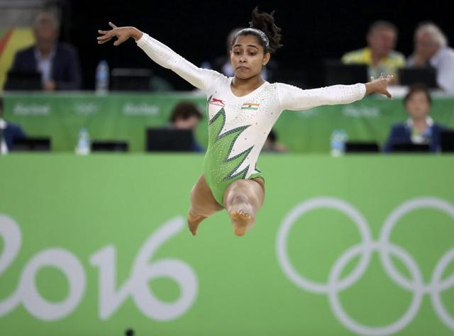 Dipa Karmakar of India competes on the floor exercise during the women's qualifications.