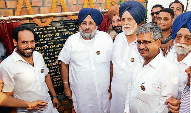 Punjab deputy chief minister Sukhbir Singh Badal, public works department minister Janmeja Singh Sekhon and Akali legislator Sarup Chand Singla during the foundation-stone-laying ceremony of railway overbridge on the Dabwali road in Bathinda on Saturday.