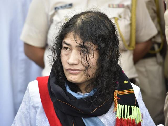 Irom Sharmila interacts with journalists during a press conference at Jawahar Lal Nehru Hospital in Manipur.