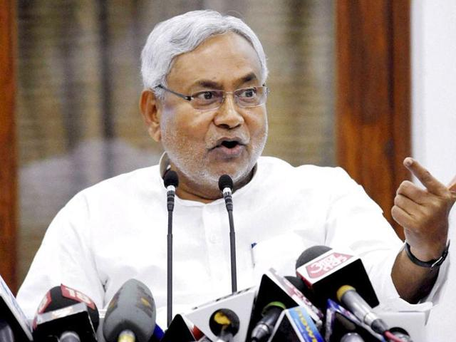 Bihar chief minister Nitish Kumar addresses a press conference in Patna.