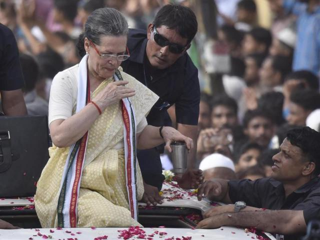 Congress president Sonia Gandhi fell during the roadshow in Varanasi  on August 2 and broke her left shoulder.