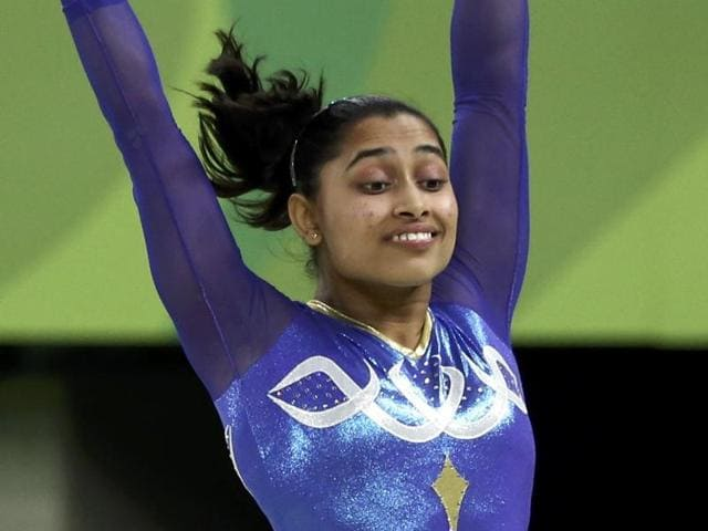 India's Dipa Karmakar performs on the vault during the artistic gymnastics women's apparatus final.