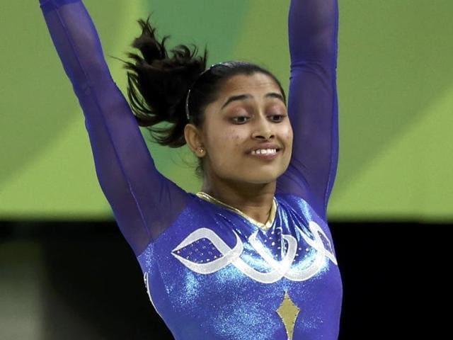 India's Dipa Karmakar performs on the vault during the artistic gymnastics women's apparatus final.