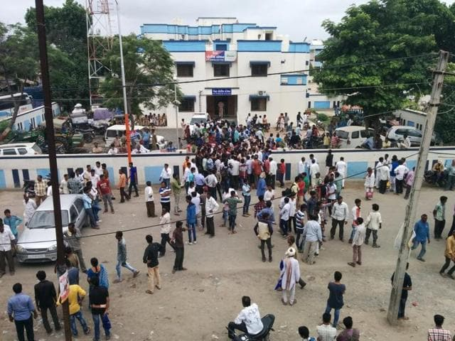 Dalit activists gather in front of the Una police station on Monday.