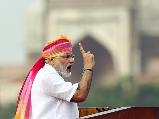 Prime Minister Narendra Modi addresses the nation from the Red Fort on the occasion of Independence Day in New Delhi.