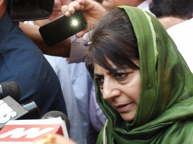 Jammu and Kashmir CMMehbooba Mufti talks to the media after meeting Union home minister Rajnath Singh in New Delhi.