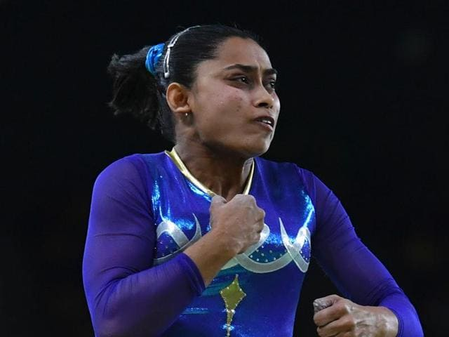 Dipa Karmakar during the finals of the women's vault event at 2016 Rio Olympics. Karmakar, the first Indian female gymnast at an Olympics competition, lost a medal by a whisker. She came in fourth.