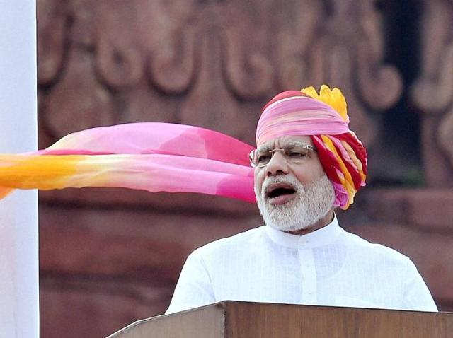 Prime Minister Narendra Modi addresses the nation during the 70th Independence Day function at the historic Red Fort in New Delhi.