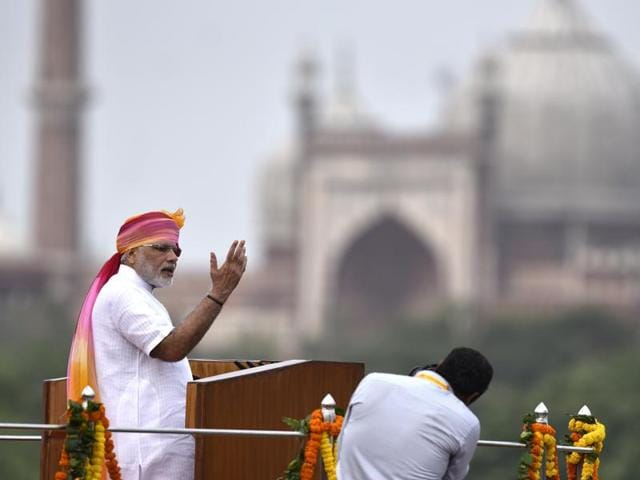 Prime Minister Narendra Modi speaks from the rampart of the Red Fort on Independence Day, in New Delhi.