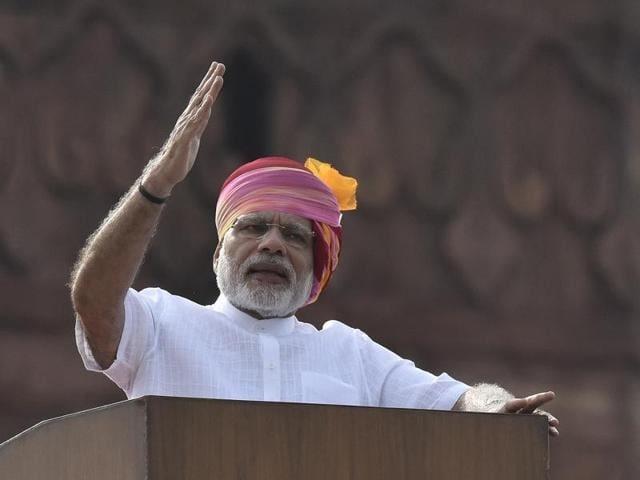 PM Narendra Modi addresses the nation from the ramparts of the Red Fort on 70th Independence Day.