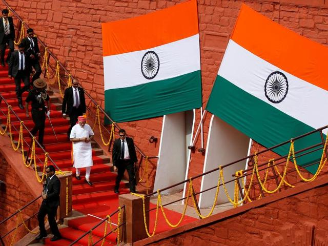Prime Minister Narendra Modi during Independence Day celebration at Red Fort in New Delhi on Monday.