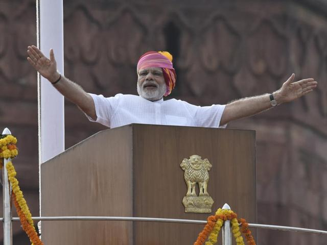 Prime Minister Narendra Modi speaks from the  Red Fort on the 70th Independence Day.