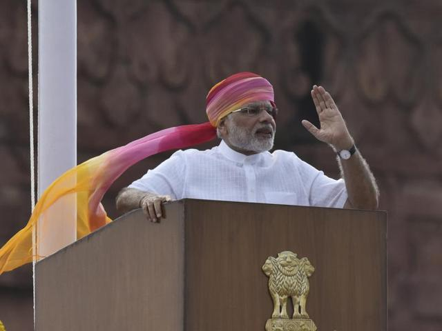 Prime Minister Narendra Modi at RedFort to mark the 70th Independence Day celebrations.