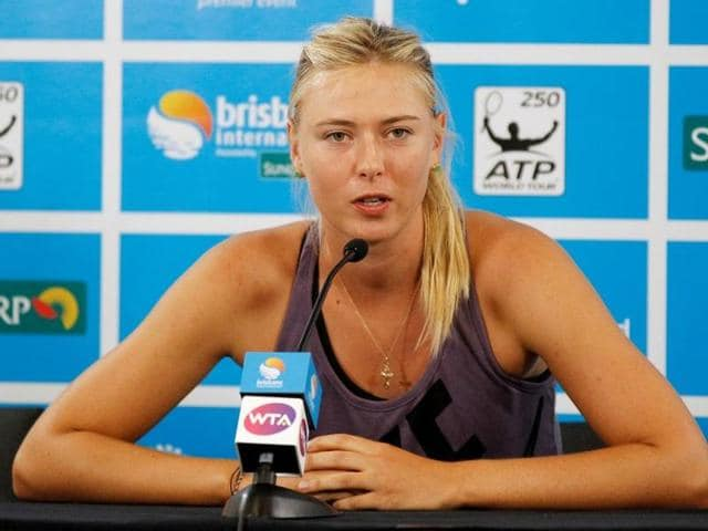 Maria Sharapova of Russia speaks during a news conference at the Brisbane International tennis tournament.