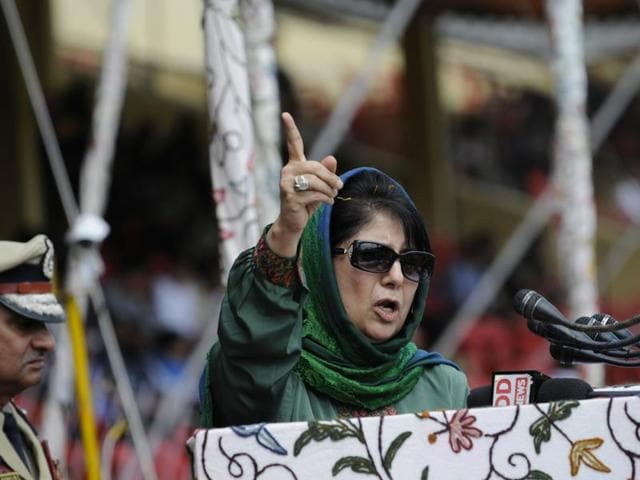Jammu and Kashmir chief minister Mehbooba Mufti delivers speech during Independence Day Parade in Srinagar.