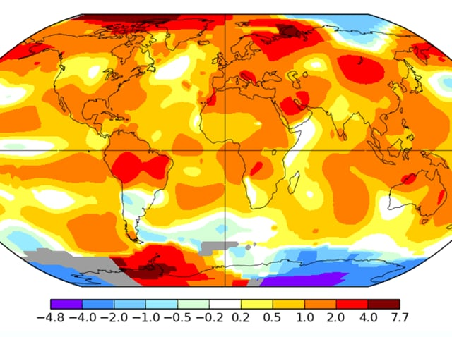 Nasa Goddard Institute for Space Studies' global map showing surface temperature analysis during July 2016.