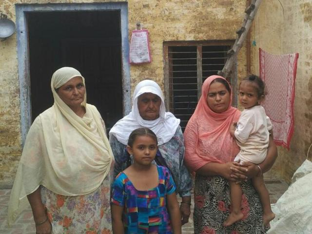 The family of Harmeet, who died in a road accident last month, at Thuhi village.