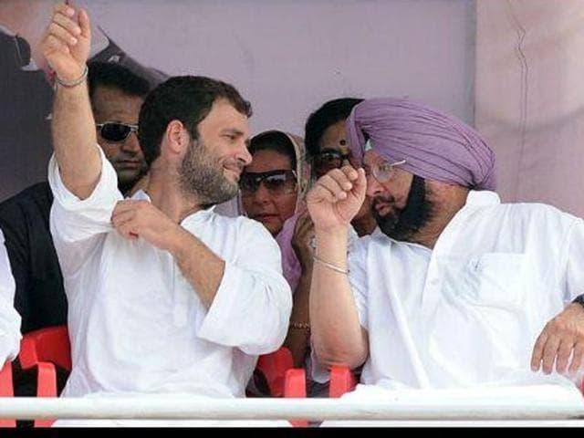 Congress V-P Rahul Gandhi with Punjab unit chief Capt Amarinder Singh.
