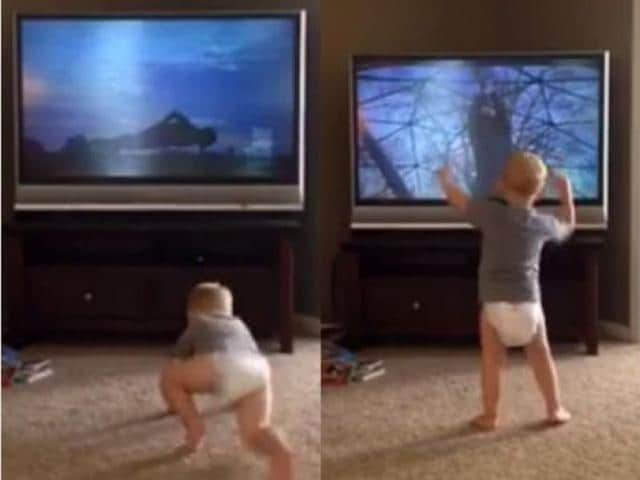 A hilarious video shows little Charlie in sync with Balboa, step for step, push-up for push-up, as he trains in Rocky 2.