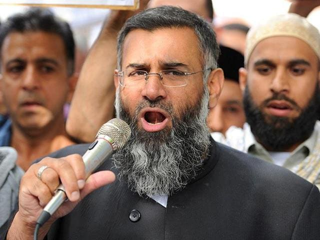 File picture of Muslim cleric Anjem Choudary as speaks to a group of demonstrators outside the US embassy in central London.