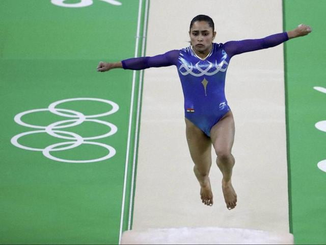 Dipa Karmakar performs on the vault during the final in Rio de Janeiro on Sunday.