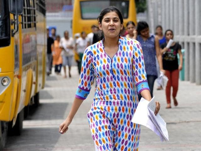 Applicants stepping out of the examination centre after appearing for NEET 2 exam in Noida on July 24, 2016.