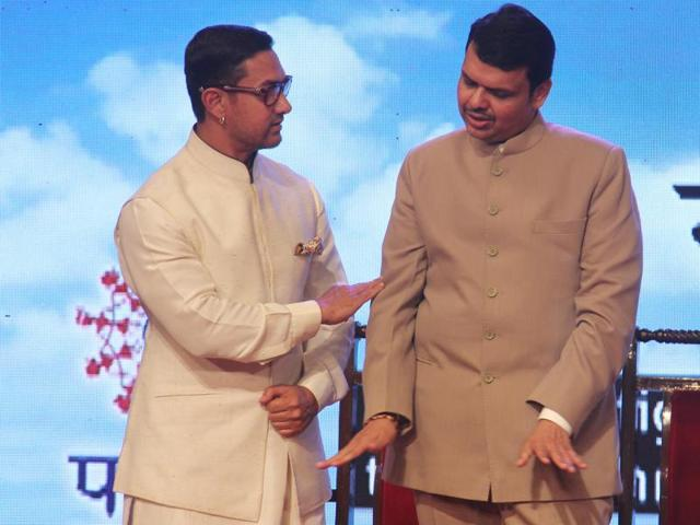 Aamir Khan, CM Devendra Fadnavis at Satyamev Jayate Water Cup Awards in YB Chavan Auditorium on Monday.