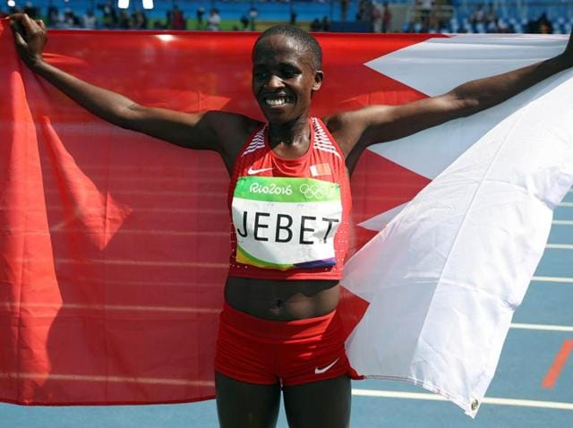 Bahrain's first Olympic gold medal was won Monday by Ruth Jebet in the 3,000-metre steeplechase. Jebet transferred her sports nationality to the tiny Gulf island kingdom three years ago from Kenya.