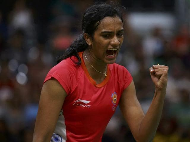 P.V. Sindhu (IND) of India in action during Rio Olympics.