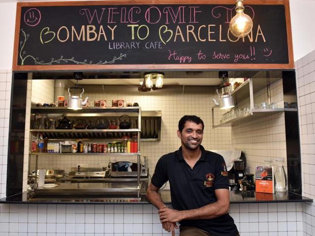 min Shaikh at Bombay to Barcelona Library Cafe in Andheri.