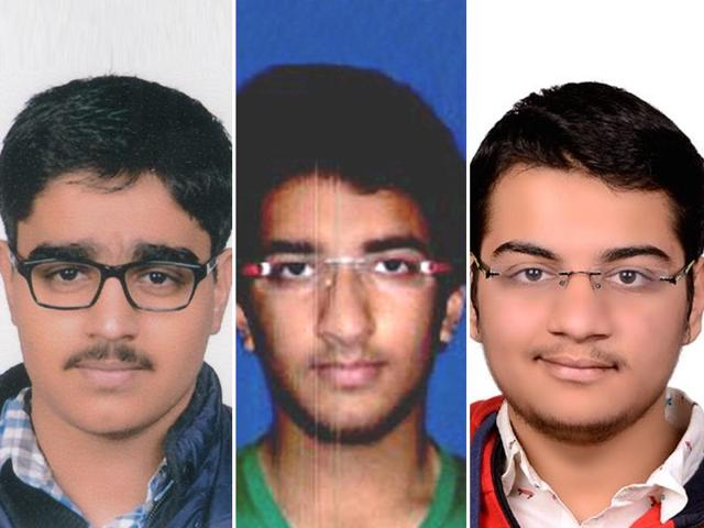 Combo image of NEET 2016 topper Het Shah (extreme  right), second topper Ekansh Goyal (Middle) and third  topper Nikhil Bajiya (Left).