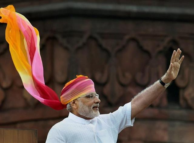 Prime Minister Narendra Modi waves after his address on the 70th Independence Day function.