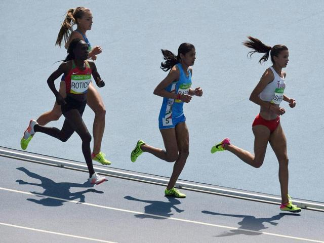 Rio de Janeiro : Indian Athlete Lalita Shivaji Babar after participating in Women's 3000m Steeplechase Final during the 2016 Summer Olympics at Rio de Janeiro in Brazil on Monday. PTI Photo by Atul Yadav (PTI8_15_2016_000470a)