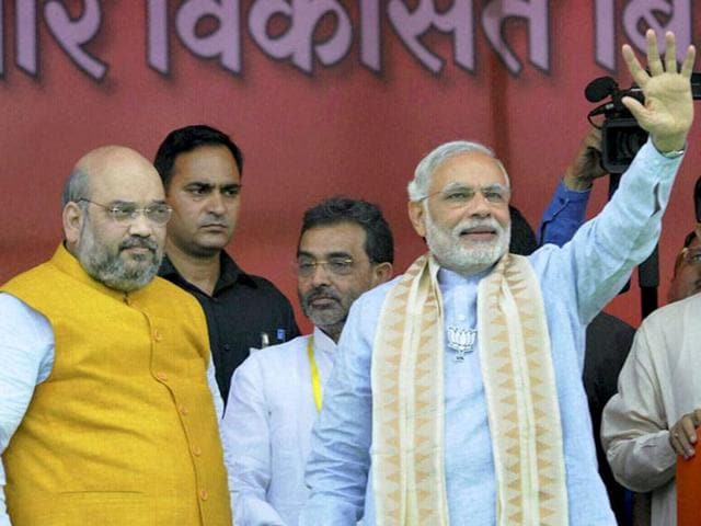 Prime Minister Narendra Modi with BJP president Amit Shah at a BJP rally in Bihar.