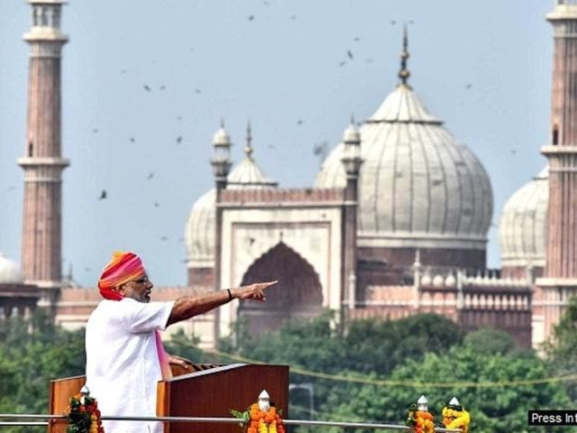Prime Minister Narendra Modi addressing the Nation on the occasion of 70th Independence Day from the ramparts of Red Fort, in Delhi on August 15, 2016.