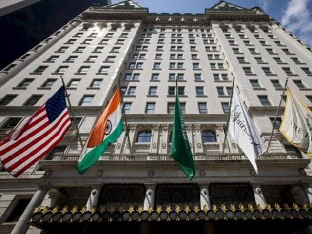 File photo of Plaza Hotel, New York.  The hotel has been rated third among the top rated hotel residences in the world in a survey.