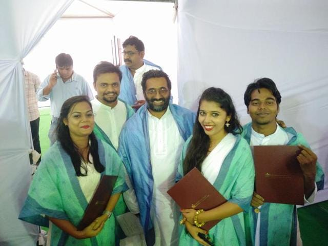 Prof Deepak Mathew (centre) with IITHyderabad students at the convocation.
