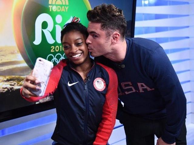 Four-time Olympic gold medallist Simone Biles finally met her celebrity crush Zac Efron.