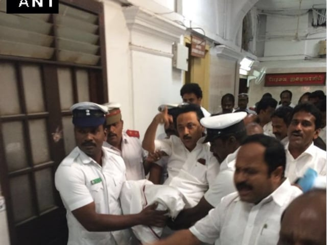 DMK evicted,Stalin evicted,Stalin suspended