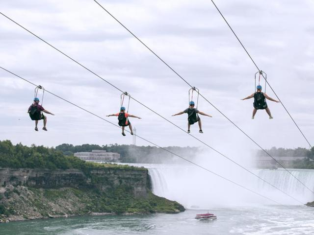 The four zip lines at Niagara Falls, angling 2,200 feet along the Canadian side of the gorge, have been designed to be sensitive to the local environment.