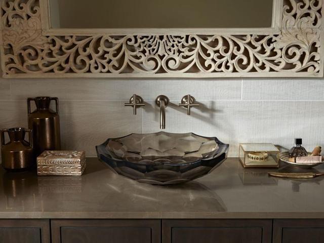 The very elegant Briolette glass sink in a neutral doe colour.(Kohler)