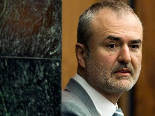 A file photo shows Gawker Media founder Nick Denton arriving in a courtroom in St. Petersburg.