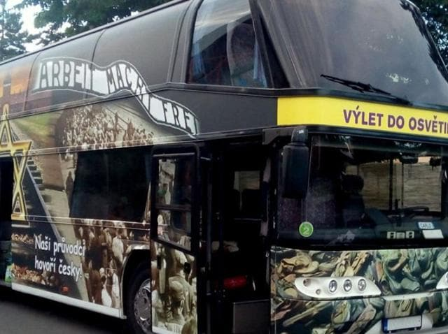 A Czech company is offering bus trips to Auschwitz and elsewhere with the images of Holocaust victims and the Nazi death camp on its exterior.