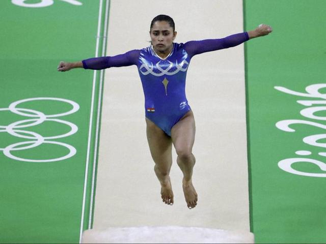 Dipa Karmakar performs on the vault during the artistic gymnastics women's apparatus final at the 2016 Summer Olympics in Rio de Janeiro, Brazil.