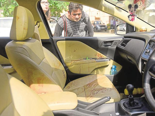 The car in which Sanchi Goyal was travelling along with her parents.