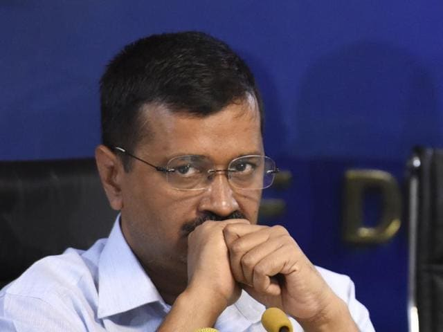 Delhi chief minister Arvind Kejriwal addresses the media to announce that no new liquor shop will be opened in Delhi this year.
