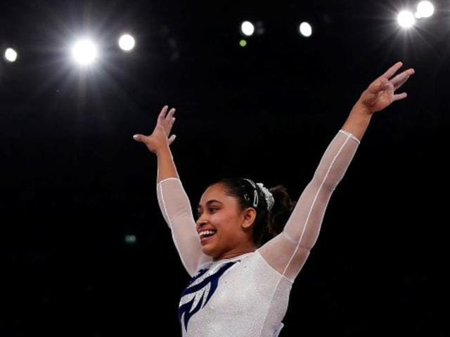 Dipa Karmakar competes the floor exercise during the women's qualifications at Rio Olympics.