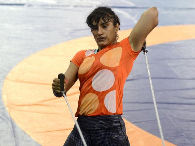 Vinesh Phogat during a practice session ahead of the Rio Olympics.