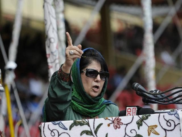 Jammu and Kashmir's chief minister Mehbooba Mufti delivers speech during the Independence Day function in Srinagar.