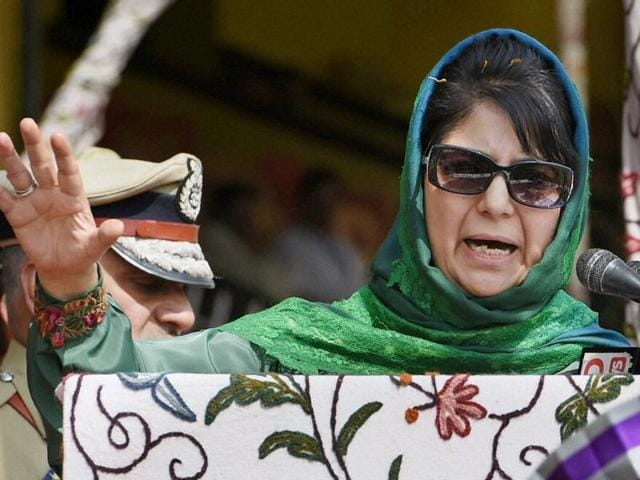 Jammu and Kashmir chief minister Mehbooba Mufti addressing the crowd at Bakshi stadium during the celebration of 70th Independence Day in Srinagar.